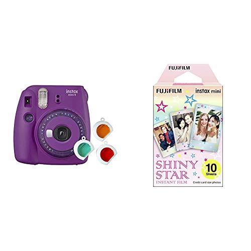 Instax Mini 9 Appareil Photo Transparent Violet & Mini Monopack de 10 Films pour développement instantané Shiny Star