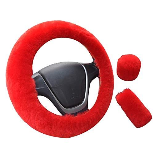 Zfxbfs Lenkradabzieher Auto Lenkradbezug Winter-Universal-Handbremse Getriebe Position Getriebe Dreiteilige Pelz-Abdeckung Auto-Innen Zubehör Autolenkradabdeckung (Color Name : Red)