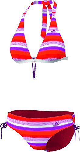 adidas Damen Bikini Stripes HN, top:vivid pink s13/vivid red s13/blaze orange s13 bottom :vivid pink s13/vivid red s13/blaze orange s13, 34, Z29849