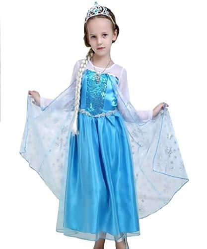 Elsa Kostüm für Mädchen, Faschingskostüm Kostüme Classic Größe 110-3-4 Jahre Halloween Cosplay toll als Geschenk für Weihnachten oder Geburtstag