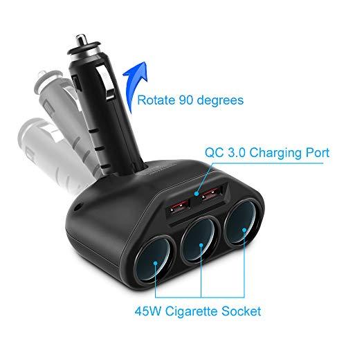 Rocketek 3-Socket 2-Port USB Quick Charge 3.0 Car Charger Splitter Adapter,120W 12V/24V DC Outlet Multi Socket Car Cigarette Lighter Splitter QC3.0 Dual Car Charger Power Outlet Splitter Extender
