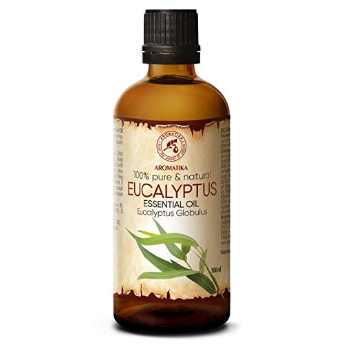Olio Essenziale di Eucalipto 100ml - Eucalyptus Globulus - Naturale e Puro al 100% - Allevia la Tensione - Buon Umore - Rilassante - Può Essere Usato in Diffusori ad Ultrasuoni - Bagno - Sauna - SPA