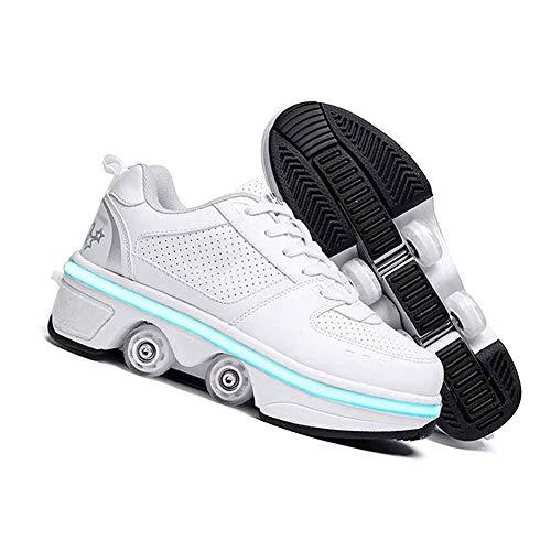 WJJ Patines Invisibles Zapatos De Patinaje De Deformación Zapatos De Patinaje Masculino Y Hembra Patines Para Niños Adultos Polea Invisible Polea Doble Fila Deform Sneakers Patines de ruedas para niño