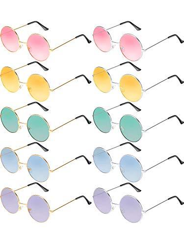 Blulu 10 Paar Runde Hippie Sonnenbrille John 60's Stil Kreis Farbige Gläser (Gold Silber Rahmen)