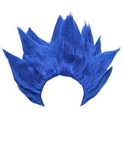 miccostumes Men's Saiyan Cosplay Wig (Blue)