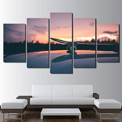 Moderne wall art modulaire foto 5 board skateboard woonkamer woondecoratie poster abstract schilderij op canvas