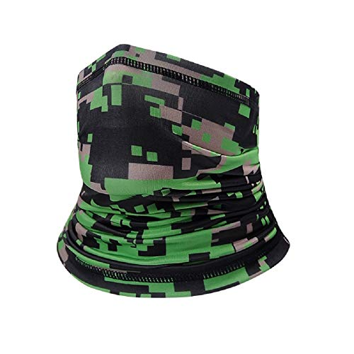 Rollce Kids Neck Gaiter face mask with Drawstring Kids face Covering UV Protection Kids Bandana face mask Face Scarf for Boys Girls Outdoor Windproof Scarf Kids Christmas Green Camouflage