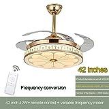 Ventilador de techo + lámpara de luces a distancia conversión de frecuencia Control de Pared invisible Bluetooth hojas decoración del hogar de atenuación ajustable ( Blade Color : 5 , Voltage : 220V )
