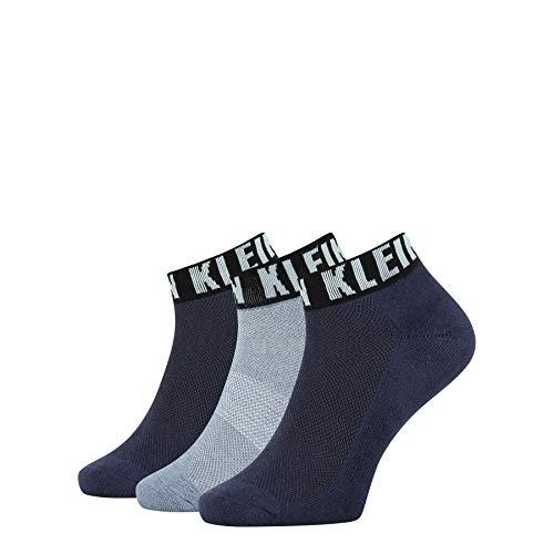 Calvin Klein Logo Cuff Men's Quarter Socks (3 Pack) Calzini, Blu Navy, Taglia Unica Uomo