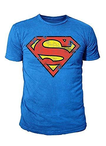 Superman DC Comic heren T-shirt - vintage logo (kobaltblauw) (S-XL)