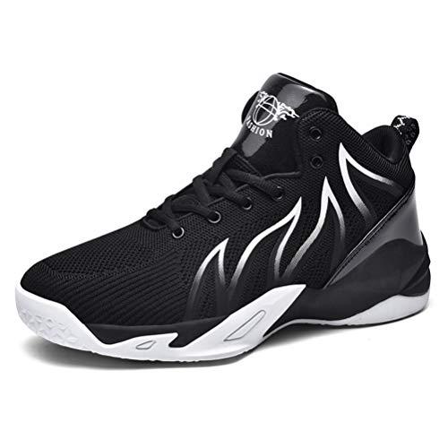 JIASUQI Herren Jungen Basketballschuhe High Top Atmungsaktiv rutschfest Outdoor Sneakers Dämpfung Workout Schuhe, Schwarz - schwarz / weiß - Größe: 45 1/3 EU