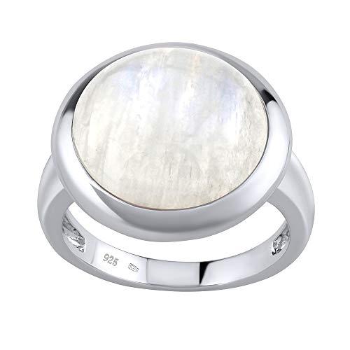 SILVEGO Damen Ring aus 925 Sterling Silber mit natürlichem Mondstein 15 mm