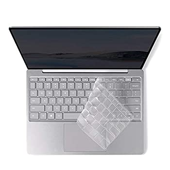 ProElife Ultra Thin Keyboard Cover Skin for Microsoft Surface Laptop Go 12.4  2020 Released Touchscreen with Fingerprint Power Button Keyboard Accessories TPU Protector  Transparent
