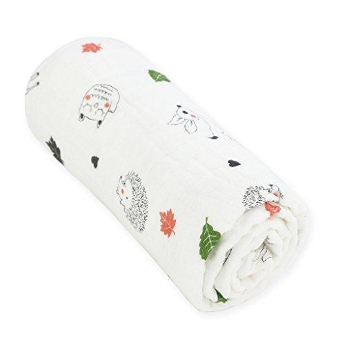 Couverture de Swaddle Highda Muslin, couverture de bébé 35 x 35 pouces en coton doux Housse de toilette Sleeping pour cadeau Unisex Baby Shower (Hedgehog)