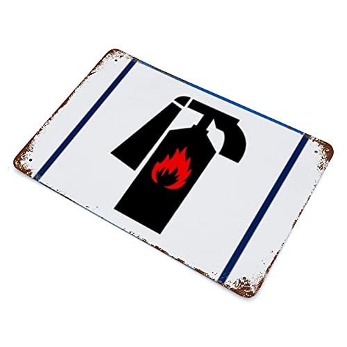 XYHH Vintage Metal Tin Sign 4 The Blue Fire Extinguisher Sign Isolated on White Background Iron Plate Hanging Picture Horizontal Plate Retro Wall Decor Plaque Poster for House Bar Pub CLC 7.9