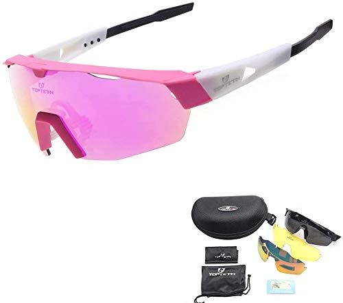 TOPTETN Gafas Ciclismo Polarizadas Gafas de Sol Deportivas con 3 Lentes Intercambiables UV400 Gafas para Hombres Mujeres Deportes Pesca Esquí Conducción...
