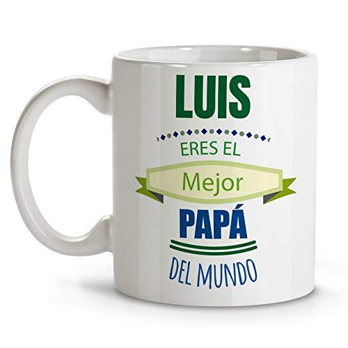 LolaPix Taza Desayuno Personalizada con Nombre. Regalo Personalizado. Día del Padre. Varios diseños. Papá Eres