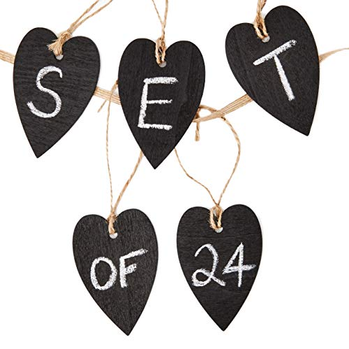 Genie Crafts 24-Piece Mini Wooden Heart Chalkboard Tag Labels with String for Gifts, Mason Jars, DIY Crafts, 2 x 3 Inches