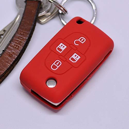 Soft Case Schutz Hülle Auto Schlüssel für Peugeot Ranch Partner 807 1007 Citroen C4 C8 Klappschlüssel Flip Key/Farbe Rot