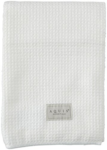 Aquis Microfiber Waffle Hair Towel, White, 19 x 39 in, 2 pk
