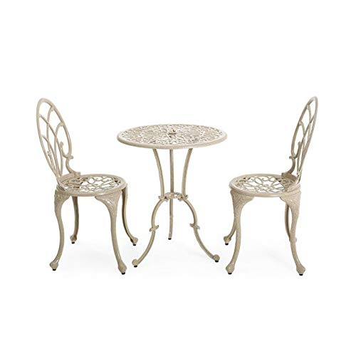 Zidao Balcony Set 3 Pieces,Garden Set Bistro Set Cast Aluminium Bistro Table with 2 Chairs Garden Furniture Antique for Balcony Garden Terrrase,Bronze