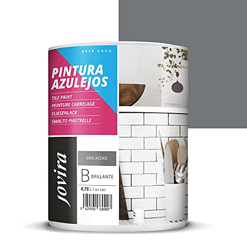 PINTURA PARA AZULEJOS AL AGUA Da una imagen nueva a tu cocina y baño. (750 ml, GRIS ACERO)