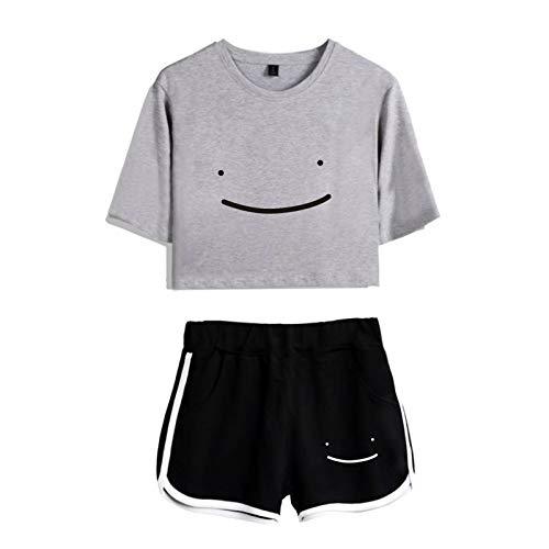 2 Stück Sport Trainingsanzug Outfit Dreamwastaken Smile Crop T-Shirt Top Short Set für Frauen Mädchen