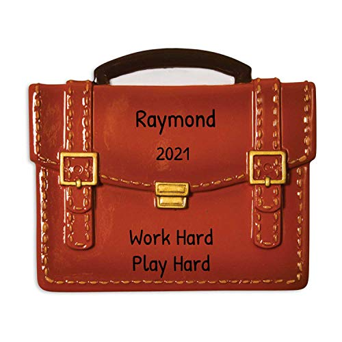 Personalized Briefcase Christmas Tree Ornament 2020 - Generic Brown Slim Leather Business Bag New Job Coworker Modern Laptop Computer Travel Wo-Man Men Lawyer Gift Year - Free Customization