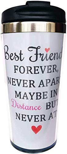 Long Distance Best Friend Travel Mug Tumbler With Lids Thermos Coffee Cup Vacuum Insulated Flask Stainless Steel Hydro Water Bottle 15 Oz