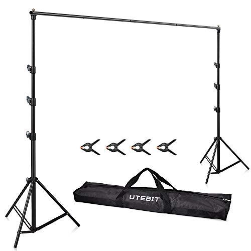 UTEBIT 撮影スタンド 250 x 300cm 強力クリップ付「4個セット」背景スタンド 3m 横ボール伸縮可 大型 3mx6m...