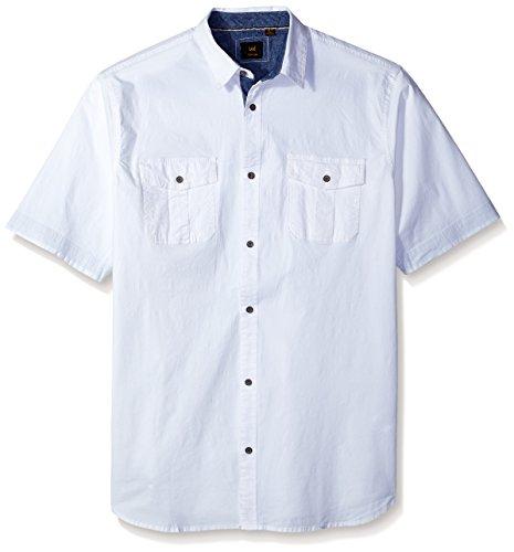 LEE Camisa de algodón elástico de manga corta con botones de ajuste regular, grande y alto, para hombre -  Blanco -  XX-Large Alto