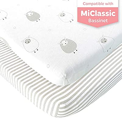 Bassinet Fitted Sheets Compatible with MiClassic Bassinet – Fits 20 x 35 Bedside Sleeper Mattress Perfectly – No-Bunching – Snuggly Soft Breathable Jersey Cotton – Grey – 2 Pack