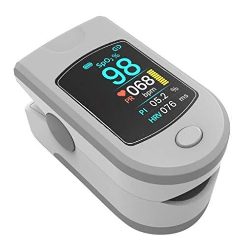 DAIMANPU Mini portátil Bluetooth Pulsioxímetro de Pulso Frecuencia cardíaca Saturación de oxígeno en Sangre SpO2 PR PI Monitor HRV Pantalla LCD Familia Ejercicio aeróbico Medida de Actividad ⭐
