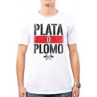 PACDESIGN Camiseta Hombre Narcos Serie TV Plomo O Plata Pablo Escobar Anni 80 80s Pd0018a, L, White
