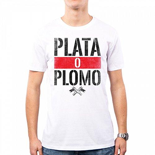 PACDESIGN T-Shirt Herren Narcos Serie Tv Plomo O Plata Pablo Escobar Anni 80 80s Pd0018a, L, White