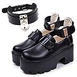 [Life Palette] ゴスロリ 厚底 靴 ブーツ パンプス レディース ロリータ 黒 チョーカー (23cm)