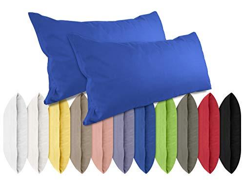 npluseins Renforcé-Kissenbezüge im Doppelpack - 100{77e5784ed4077617a3673fe3537fad624fd49a67f01d9f047a99bcbee5b512f7} Baumwolle – schlicht und edel im Design, in 11 Uni-Farben, 40 x 80 cm, royal