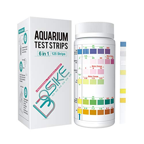 BOSIKE Aquarium 6 in 1 Testing Strips for Fresh/Salt Water, Fish Tank and Pond 125 Counts Professional Easy Accurate Test