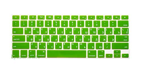 Nonovel US EU Euro RU Russian Letter Keyboard Cover for MacBook Air Pro Retina 13 15 Laptop Russia Protector Skin for iMac 13.3 15.4-USgreen-
