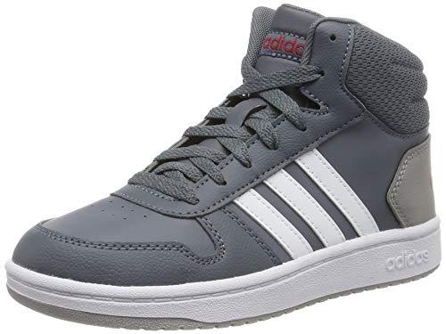 adidas Unisex-Kinder Hoops 2.0 Mid Hohe Sneaker, Grau (Onix/Footwear White/Active Maroon 0), 39 1/3 EU