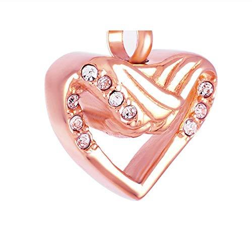 OKOC Memorial Collares Cadena Cenizas Crystal Angel Wings Heart Necklace Memorial Jewelry Cenizas De Acero Inoxidable Souvenir Cremation Ur Box Colgante-B