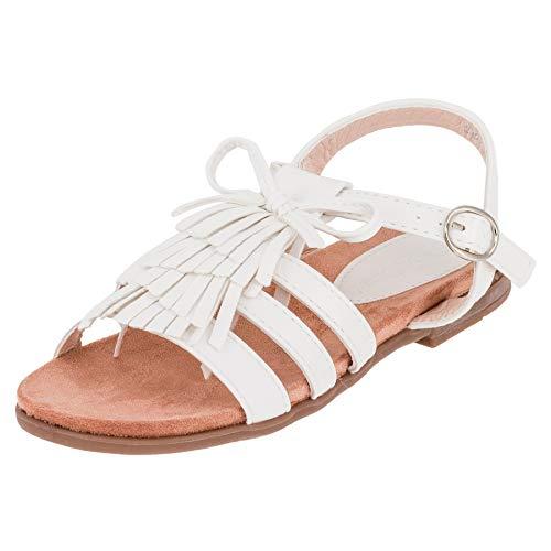 Modische Mädchen Sandalen Sandaletten Kinder Schuhe mit Schnalle und Fransen M569ws Weiß 34 EU