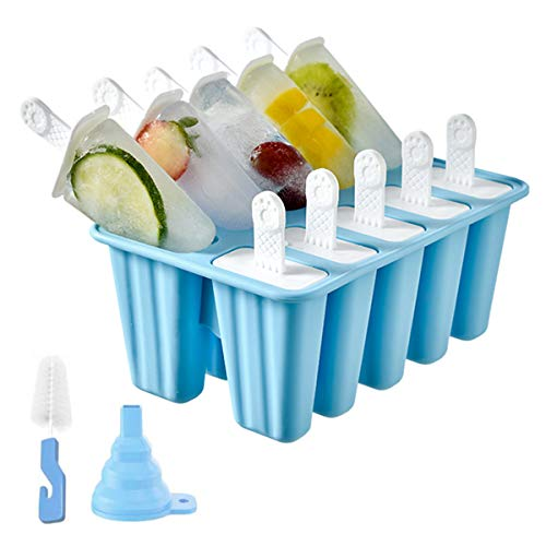 Popsicle Molds Silicone Ice Pop Mold, 10 Pieces BPA Free Popsicle Mold Reusable Easy Release Ice Pop Maker with Cleaning Brush and Funnel (Blue, 10 Cavities)