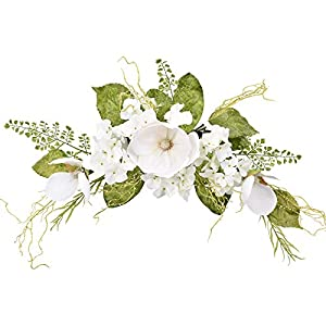 I-GURU Magnolia Swag Artificial Flower Hydrangea 28 Inch, White Decorative Swags with Green Leaves for Home Room Door Wall Wedding Arch Garden Party Tabletop Decoration
