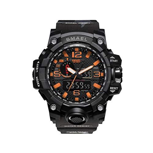 Hombre Relojes, L'ananas Al Aire Libre Deportes Multifuncional Camuflaje Militar LED Relojes de Pulsera Men Watches (Naranja)