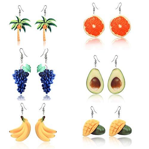 6 Pares Pendientes de niña, Lindos Aretes de Frutas, Pendientes acrílicos accesorios de joyería de playa, para las Niñas Regalo de Cumpleaños (Plátano, piña, naranja, uva, aguacate, coco.)