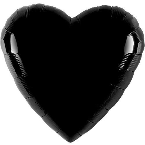 paduTec Ballon Folienballon Luftballon - Herzballon Schwarz - Hochzeit Deko Geburtstag Valentinstag Jahrestag Hochzeitsantrag - zur befüllung mit Helium Gas Ballongas oder Luft - UNGEFÜLLT