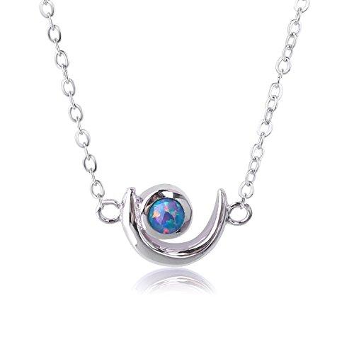 KELITCH Necklaces for Women Men Dainty Crescent Moon Star Created Blue Fire Opal Pendant Collarbone Necklace 925 Silver Plated Chain Necklaces for Girls …
