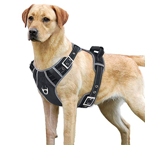 Idepet No-Pull Dog Harness with Handle Adjustable Reflective Pet Harness Vest Easy Control for Small Medium Large Dogs Training Walking Hiking Black (XL, Pin Buckle Design)