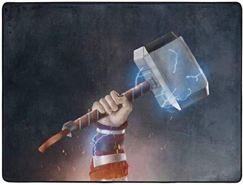 Happy and Ness Thor 'mit Hammer weichen Teppich Easy Clean Fleck verblassen beständig, für Wohnzimmer Schlafzimmer Küche Schlafzimmer für Kinder Teppich